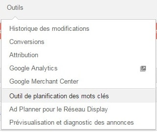 menu outils google keyword planner
