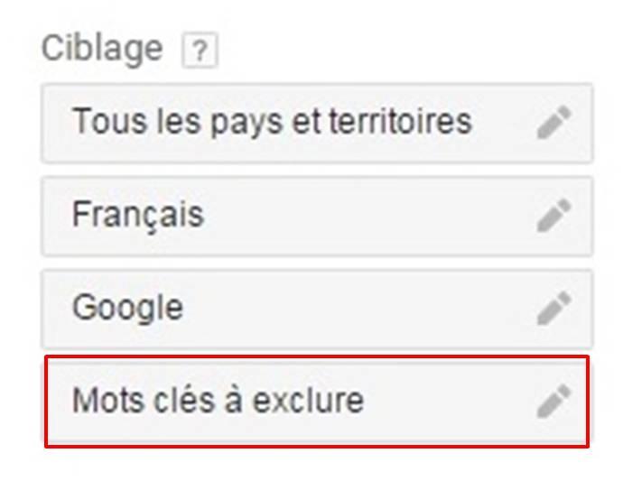 mot a exclure dans planificateur mot cles google