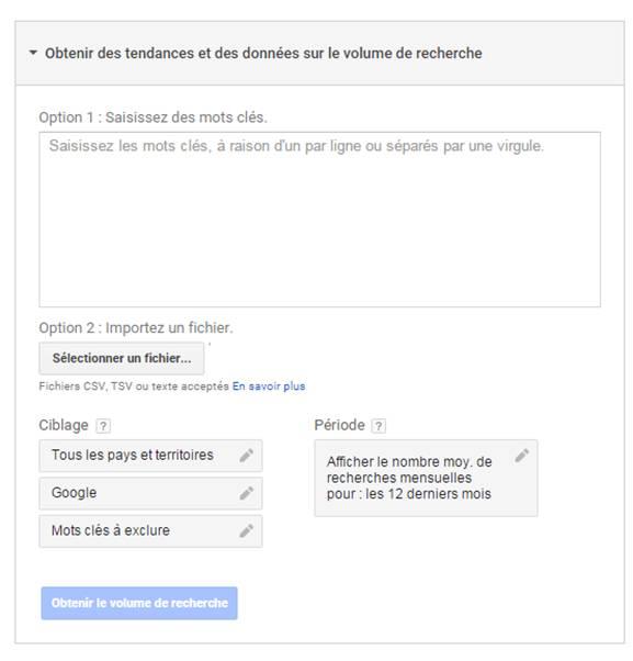 tendances volume de recherche outil planificateur google