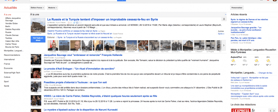 page accueil google actualites