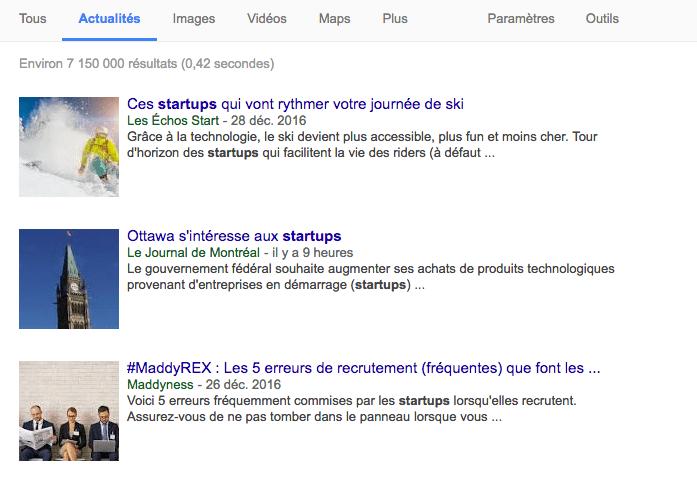 page résultat google actualités