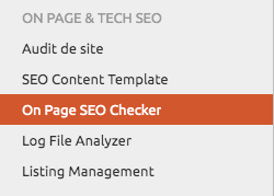 Menu On page SEO Checker