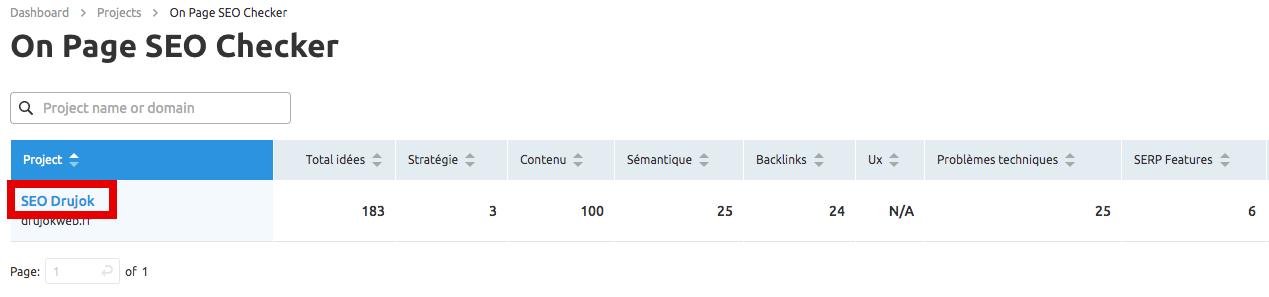 résultats on page seo checker