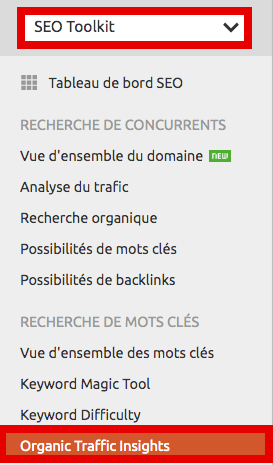 Menu analyse trafic organique