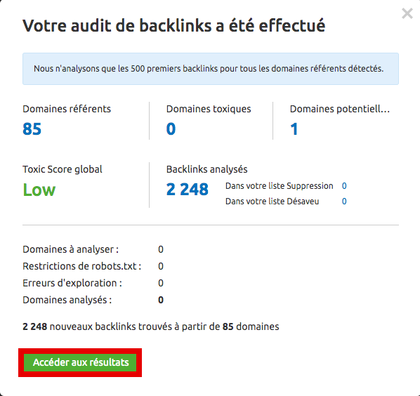 audit de backlink terminé