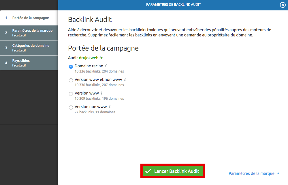 configuration campagne audit backlinks