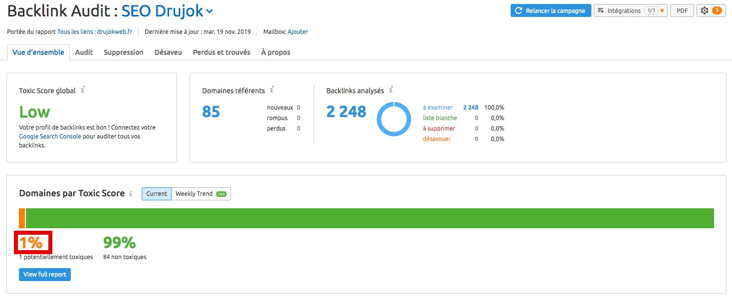 résultats de l'audit de backlinks
