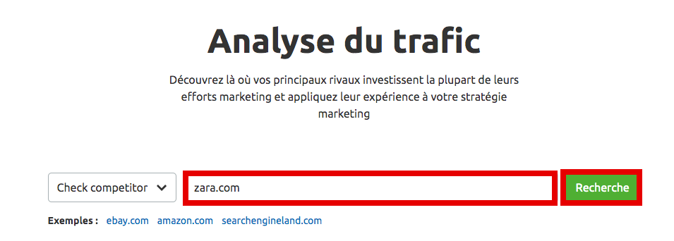 Barre de recherche Traffic analytics