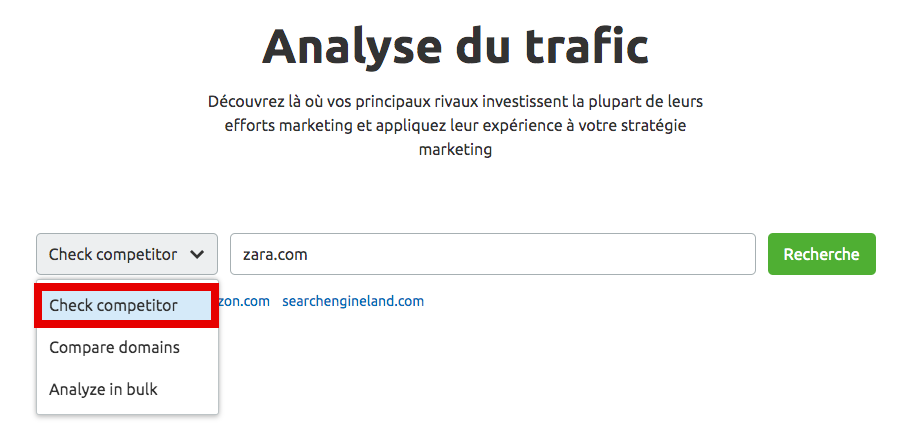 Liste déroulante Traffic analytics